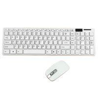ingrosso bluetooth per il desktop-Kit mini tastiera e mouse wireless ultra sottile da 2,4 GHz per PC laptop desktop Opzione bianco e nero