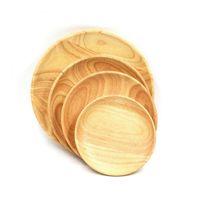 ingrosso piatti giapponesi piatti-Piatti di legno rotondi per il ristorante Vassoio di legno naturale che serve piccoli piatti giapponesi grandi Articoli per la tavola Spedizione gratuita ZA3935