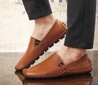 Wholesale comfy shoe brands - Big Size 38~47 High Quality Genuine Leather Men Shoes Soft Moccasins Loafers Fashion Brand Men Flats Comfy Driving Shoes G685
