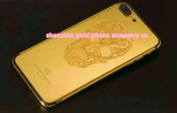 iphone 24k venda por atacado-Real gold skull chapeamento de volta tampa da caixa da habitação porta da bateria para iphone 7 7 + compatível marca e bar design de personalização para iphone 7 24k
