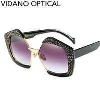 Wholesale Pearl Shade - Vidano Optical Latest Pearl Crystal Fashion Sunglasses For Women & Men High Quality Designer Sun Glassees Semi Rimless Shades UV400 Eyewear