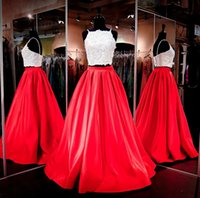 Wholesale photo cropping - Sexy 2 Piece Prom Dresses for African Black Girls Satin Straps Crop Special Occasion Lace Crystal Ivort Top Red Skirts Long Formal Gowns