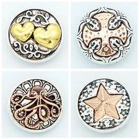 star snap buttons jewelry venda por atacado-Moda KZ3072 Beauty Rose golden StarCrossHearts 18 MM botões de pressão de gengibre para DIY ginger snap Jóias Acessórios charme