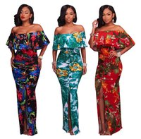 Wholesale black floral tunic - Floral Maxi Dress Women Summer Sexy Bohemian Beach Dresses Mori Girl Tunic Split Backless Off Shoulder Long Bodycon Dress