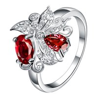 Wholesale Ruby Spinel - lingmei Wedding Jewelry Pear Cut Ruby Spinel White Topaz AAA Silver Ring For Women Size 6 7 8 9 10 11 12 Free Shipping Wholesale