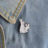 Wholesale Rabbit Jewelry Vintage - 2017 Fashion Vintage Cute Rabbit Costume Brooch Pins Animal Gift Badge Clothes Buttons Cartoon Drop Oil Broches for Women Jewelry Wholesale