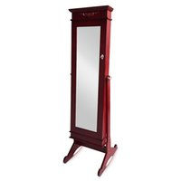 Wholesale Antique Jewelry Stand Holder - Full Length Mirror Jewelry Cabinet Armoire Jewelry Storage Organizer Necklace Finger Ring Earring Holder Floor Standing Free Shipping