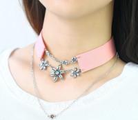Wholesale Pink Crystal Bib - Hotsale Wide Black Pink Leather Rope Multilayer Vintage Crystal Pendants Choker Necklaces Women Bib Collar Jewelry HZ