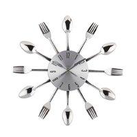 Wholesale Art Clock - Wholesale-New 2015 Watch Wall Clock Modern Design Silver Kitchen Cutlery Digital Wall Clocks Spoon Fork Home Decor Art Room Decorative