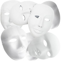 Wholesale Christmas Diy Masquerade Masks - Plain White Plastic DIY Painting Halloween Masquerade Party Cosplay Masks 24pcs   lot (12pcs male+12pcs female)1ZJ0001-male&female-w