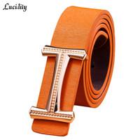 Wholesale Waist Belts For Dresses - Wholesale- New 2017 Fashion Woman Belts For Dress Elegant Letter Smooth Buckle Luxury Brand Women Belts Pu Leather Waist Belt Lady