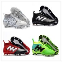 Wholesale Gold Tango Shoes - Original ACE Tango 17 Purecontrol FG Outdoor soccer cleats FG soccer shoes 2017 ACE football boots Dragon Laceless boots Black Mens Red