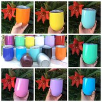Wholesale Double Layer Coat - 19 Colors 9oz Egg Cup Double Layer Mug Stainless Steel Powder Coated Stemless Wine Glass Cocktail Glasses Drinkware With Lid CCA6548 30pcs