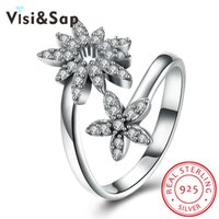 Visisap Clover Cream 925 Sterling Silver Jewellery for Women Aniversário Ring Luxury Wholesale jóia SVR187