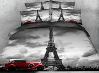 Wholesale Quilt Set Eiffel - JF106 Vintage style Grey Eiffel Tower and red car print 5pcs Comforter set queen king size bedding sets with quilt filler