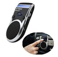 Wholesale Car Bluetooth Solar Powered - Wholesale-China Post Free Wireless Bluetooth Handsfree Car Kit Solar Power Speakerphone For Mobile Phone Dual Phone Connect
