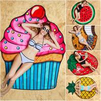 toallas de fresa al por mayor-Hamburguesas Fresa Piña Sonrisa Redonda Toalla de playa Impreso Poliéster Liso Teñido Tejido de verano Estera de Yoga Boho Decoración para el hogar 150 cm Toallas