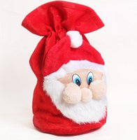 Wholesale Cloth Gift Wrap - Christmas Drawstring Plush Santa Sack 37 * 50cm Santa Claus Gift Sack Christmas gift Bags Drawstring Gift Pouch Wrap KKA2294