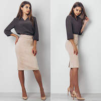 Wholesale Womens Suede Skirts - Split Vintage Suede Bodycon Skirt High Waist Women Knee Length Pencil Skirt Solid OL Office Elegant Skirts Womens 2017