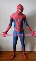 fantasia incrível de spiderman zentai venda por atacado-O incrível traje do homem aranha 2 Zentai Spider-man Cosplay 3D impressão Lycra corpo inteiro Spidey terno com lentes
