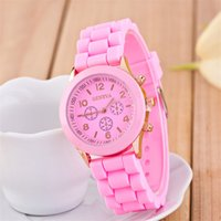 Wholesale Womens Jelly Silicone Watches Wholesale - Hot Selling wholesale popular geneva silicone rubber jelly candy watches unisex mens womens ladies colorful quartz watches Free DHL