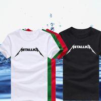 Wholesale Metallica Logos - Wholesale- High Quality Unique Rock Band Metallica Logo Printed T Shirts for Men Cool Hip Hop Punk t-shirts Short Sleeve Male TOP Tees