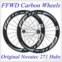 Wholesale Carbon Fiber Road Bike Rims - Popular Full Carbon Fiber Wheelset Clincher Tubular 60mm 700C 23mm Width 3K Matt FFWD F6R Bicycle Wheels Carbon Rims Novatec 271 Hubs
