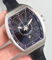 Wholesale Dive Watch Men Rubber Band - Top Mens Automatic Black Dial Watch Men Calendar Date Eta 2824 Swiss Watches Vanguard V45 Dive Super Rubber Leather Band Geneva Wristwatches