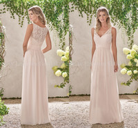 Wholesale Light Peach Chiffon Dress - Peach V-neck Chiffon Long Beach Bridesmaid Dress Lace Bodice A-line Sleeveless 2017 Cheap Maid of the Honor Dresses with Zipper Back