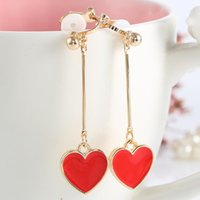 Xs Love Stud Earrings Long Red Heart-shaped Ear Clip Earrings Eardrop No Ear Pierced The Bride Acessórios Atacado B066