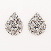 Wholesale Dresses Bride Stones - 2017 fashion jewelry studding wedding earrings for brides popular rhinestone dress baldpates natural stone women earings E016