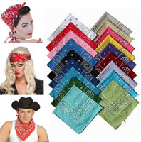 Wholesale Head Scarf Shawl - 100% Cotton Paisley Bandanas doublesided head wrap scarf 55*55cm 12pcs lot