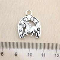 Wholesale Hobby Horses - 20Pcs 23*17mm antique Silver Tonehorseshoe horse Charms Zinc Alloy DIY Handmade Jewelry Pendants Wholesale