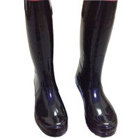 Wholesale Wholesale Flat Heeled Boots - Men Women RAINBOOTS fashion Knee-high rain boots waterproof welly boots Rubber rainboots water shoes rainshoes tall and short 11 colors