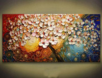 pinturas meninas venda por atacado-Enquadrado Pintado Pintura Decor Modern Abstract Wall Art Oil Árvore Mão no Thick Canvas multi tamanhos qualquer customized Aceito grande