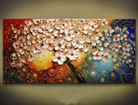el boyama tuval kalın boya toptan satış-Kalın Tuval Çoklu On Çerçeveli Ağacı El Boyalı Modern Dekor Özet Duvar Sanat Yağlıboya Resim Her büyük Kabul özelleştirilmiş boyutları