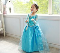 Wholesale Halloween Costumes Cartoon Dress Kids Girl Frozen ELsa Dress Pricess Dress Loel Princess Inspired Girls Party Costume With Crown Gifts