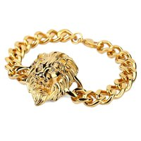 Wholesale Mens Bracelets Lion - New Men's Cool Rock Lion Head Bracelet Cool Fashion Hip Hop Silver Gold Color High Grade Mens Jewelry For Christmas Gifts
