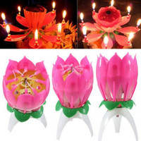 Wholesale Lotus Flowers Wholesale - New Velas Decorativas Music Candle Birthday Party Wedding Lotus Sparkling Flower Candles Light Event Festive Supply 100pcs lot CCA6350 1lot