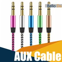 Wholesale Cars Multimedia Speakers - Car Audio AUX Cable Nylon Braided 1M3F wired Auxiliary Stereo Jack 3.5mm for Apple and Andrio Mobile Phone Speaker