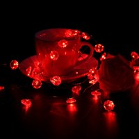 Wholesale Led String Diamond Lights - Valentine String Lights Red Diamond Copper Wire Lights - 10 Ft. Long, 40 Lights, 7 Light Modes