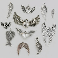 Wholesale Mixed Tibetan Silver Pendant Charms - Hot ! 110pcs Mixed Lots of Tibetan Silver Zinc Alloy Wings Charms Pendants DIY Jewelry