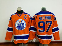 Wholesale Discount Hoodies Sport - Orange Oilers #97 McDavid Hockey Jersey with C Patch Cheap Sports Hoodies Embroidered Jerseys 2017 Discount Men Hockey Uniform