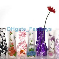 Wholesale 12 cm Creative Clear Eco friendly Foldable Folding Flower PVC Vase Unbreakable Reusable Home Wedding Party Decoration DHL DHFTY