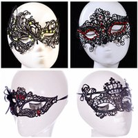 Wholesale Sexy Costumes For Cheap - Fashion Cheap Sexy Black Lace Party Masks With Jewellery Ladies Girl Halloween Xmas Cosplay Costume Dancing Valentine Birthday Mask 4 Types