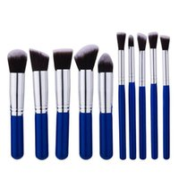 Wholesale Makeup Brushes Blue Handle - IN STOCK Newest high quality makeup the blue handle 10pcs makeup brushes make up brush tools free shipping