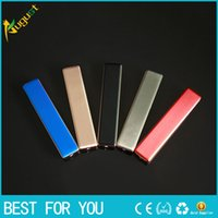 Wholesale electronic safes for sale - Group buy New hot Portable mini safe USB rechargeable electronic cigarette lighter Pure color strip metal lighters can replace the heating wire