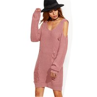 Wholesale Pull Off - 2017083101 Knitting Hollow Out Women Sweater Dress Sexy V Neck Pullover Off shoulder Long ponchos mujer 2017 robe pull femme hiver
