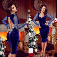 backless velvet lace dress Canada - Sexy Velvet Backless Knee Length Evening Dresses 2017 Dark Blue Sheath Long Sleeve Lace Sweetheart Neck Fashion Prom Dresses Formal Gowns