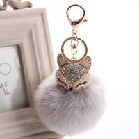 Wholesale Brown Pearl Rings - 2017 New Artificial Rabbit Fur Ball Keychain Rhinestone Crystal Fox Head Pompon Trinket Key Chain Handbag Fluffy Key Ring Holder